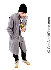 male homeless tramp with bottle over white background