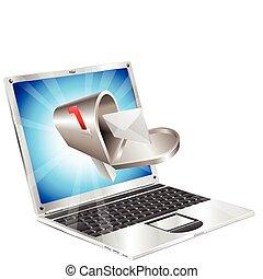 carta, buzón, vuelo, afuera, computador portatil,...