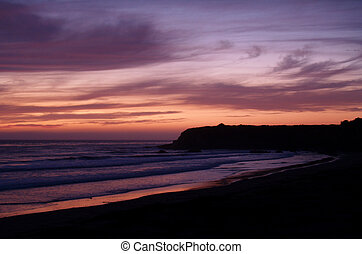 Pink Sunset - Pink sunset south of Santa Barbara,...
