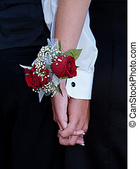 Red Rose Wrist Corsage - Red rose wrist corsage with babies...