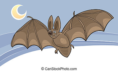vampire bat - cartoon illustration of vampire bat flying