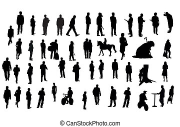 people - Vector illustration of people silhouette under the...