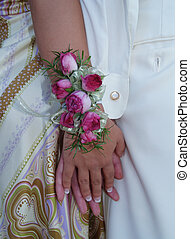 Pink Rose Wrist Corsage - Pink rose wrist corsage with...