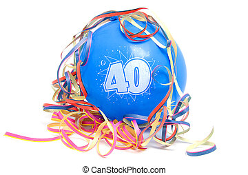 Birthday balloon with the number 40 - Blue birthday balloon...