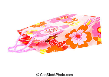 Plastic shopping bag with floral motif - plastic shopping...