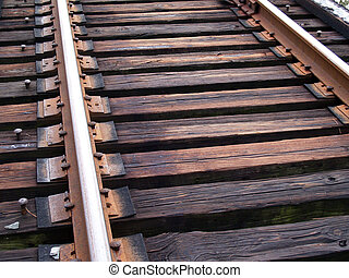 Train Tracks Up Close - Close up view of weathered train...