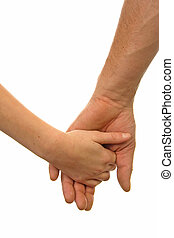 Adult man and child holding hands over white background
