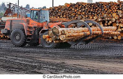 Logging Forklift Claw - Heavy duty orange claw like logging...