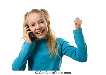 Young girl is happy on the phone over white background