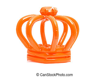 Orange blown up crown isolated on white background