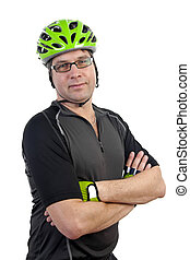 Cyclist in closeup posing over white background