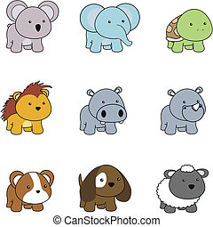 animals baby cartoon set001 - animals baby cartoon set in...