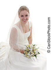 Bride with bouquet - Young beautiful bride with bouquet is...