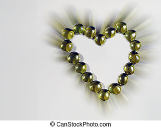 Crystal gold balls forming a heart