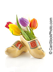 Pair of traditional Dutch wooden shoes with tulips - Pair of...