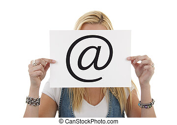 Woman is holding a at sign, isolated on white background