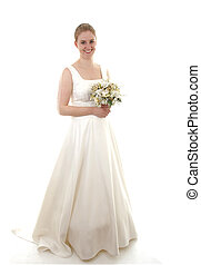 Young beautiful bride is posing over white background