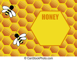 Honeycomb background with bee