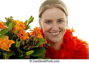 Woman with orange flowers