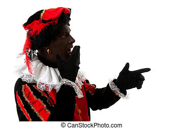 surprised Zwarte Piet ( black pete) typical dutch character...