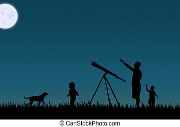 Image of a family star gazing against a night sky