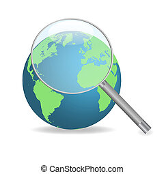 Image of the earth with a magnifying glass isolated on a white background.