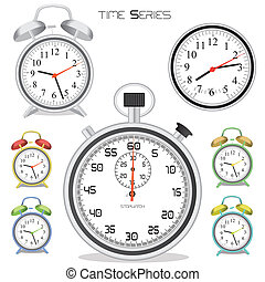 Time Series - Image of various colorful clocks and stopwatch...