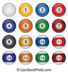 Image of a collection of colorful billiard balls isolated on...