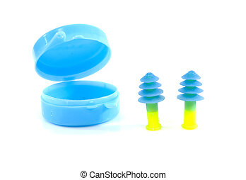 ear plugs and box - ear plugs and blue box isolated on white...