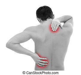 Pain in back - Young man holding his back, having pain