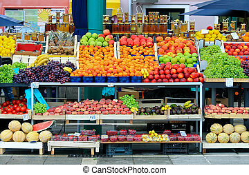 Market stall - Fruits and vegetables assortment at farmers...