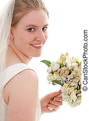 Bride with bouquet - Portrait of a young beautiful bride...
