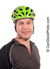 cyclist - portrait of a cyclist in closeup over white...