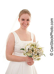 Bride with bouquet - Young beautiful bride with bouquet over...