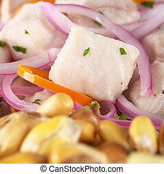 Peruvian-style ceviche made out of raw dogfish Spanish:...