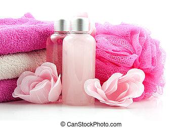 spa accessory - pink bath spa accessory over white...