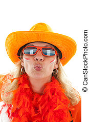 female Dutch soccer supporter gives a kiss