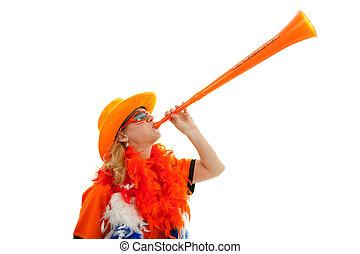 Dutch soccer supprter with plastic vuvuzela