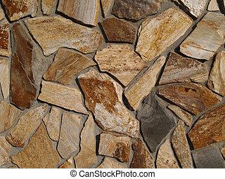 Multi-Colored Flat Stone Facade - Multi-colored flat stone...
