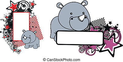rhino baby cartoon copyspace in vector format