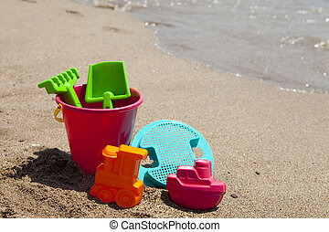 colorful plastic beach toys