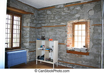 Room with stone walls, window panes - Room with old grey...