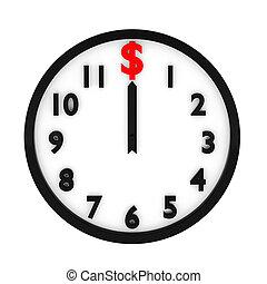 3d render of dollar clock on white