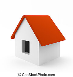 3d render of simple house on white