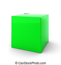 3d render of green cube on white