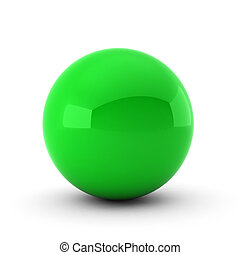 3d render of green ball on white