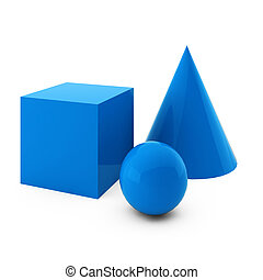 3d render of blue primitives isolated on white