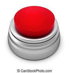3d render of red button on white