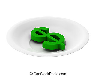 3d render of green dollar on plate on white background
