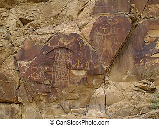 Indian Petroglyphs in Wyoming - Weather worn indian...